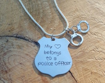 Personalized For You Police Badge Necklace or Keychain My Heart Belongs To A Police Officer