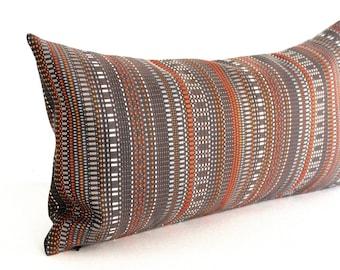 Lumbar Pillow Cover 8x16 Petite Lumbar Brown Pillow Orange Grey Modern Stripe Upholstery Fabric Decorative Pillow Oblong Throw Pillow Cover