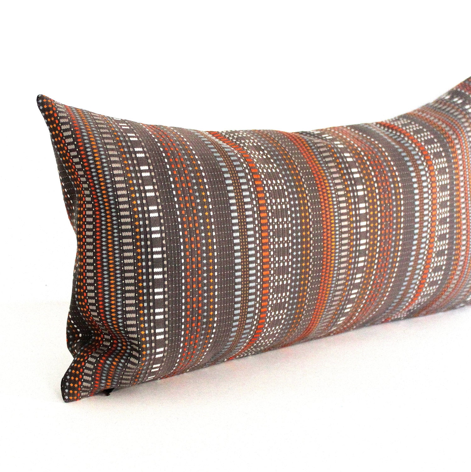 Lumbar Pillow Cover Brown Orange Grey Modern Stripe Upholstery
