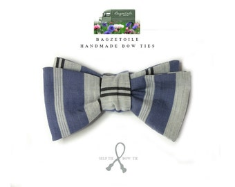 Blue stripe, Men's Bow Tie, self tie, bowties handmade by Bagzetoile - ships worldwide from France