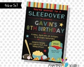 Printable Boys Sleepover Party Sports Video Games Sleeping Bag Invitation- Digital File