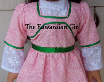Flash sale! White and rose quartz and embroidered lawn Edwardian era dress. Fits 18 inch play dolls such as American Girl, Made in USA