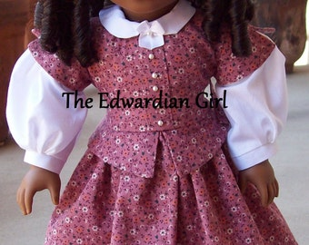 Two of a kind Civil War era Peplum vintage fabric materials dress for 18 inch play dolls such as American Girl, Springfield, OG. Made in USA