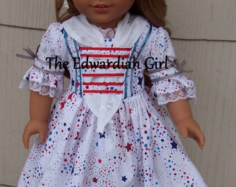 Patriotic stars Colonial day dress. Fits 18 inch play dolls such as American Girl, Springfield, OG. Red, white, blue 1770 dress. Made in USA