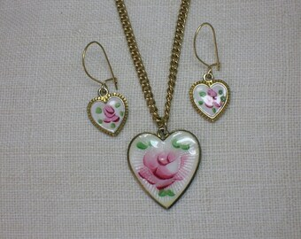 Heart Necklace & Earrings set, Sarah Coventry, Pink Rose Guilloche Enamel