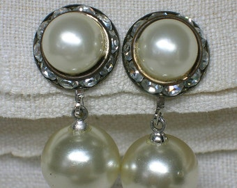 Chunky Mid Century Pearl Earrings: Faux, with Sparkling Clear Rhinestone Pastes