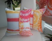 Ombre Pillow Coral Pillow Parasol Pillow Orange Pillow Greek Key Pillow Reversible Pillow Stripe Pillow Shibori Pillow Yellow Pillow