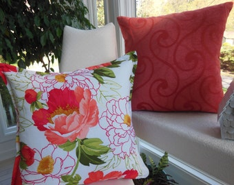Peony Pillow Flower Pillow Orange Pillow Coral Pillow - 20 x 20 Inch Reversible - Peony Blossoms Decorative Pillow - 22 Inch Insert Included