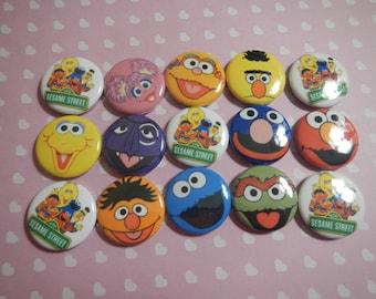 15 Sesame Street Friends Inspired Craft Flat Back Embellishment Buttons