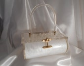 Vintage Charles Kahn Lucite Purse 1950s / Clear White Cut Flowers Gold/Brass colored hardware / Vintage Lucite Purse / Kahn Lucite Purse