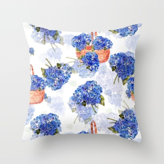 Indoor Throw Pillow Cover, Cape Cod Hydrangeas and Baskets