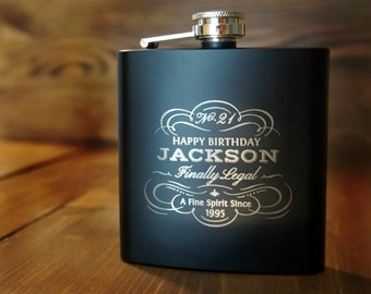 Flask - Personalized Birthday Flask - Custom Flask - Engraved Flask - Birthday Gift - Stainless Steel Black Flask