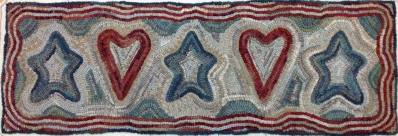 "Rug Hooking PATTERN, Patriotic Dreams, 12"" x 36"", P112, 4th of July, Red, White and Blue, Primitive Hearts and Stars"