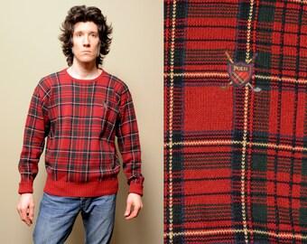 vintage 90s sweater Polo Ralph Lauren plaid golf sweater 1990 red plaid jumper preppy hip hop street style 100% cotton large L
