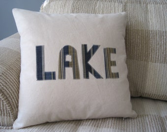 Nautical Pillow LAKE House Denim Pillow Cover // Nautical Home Decor // Nautical // Lake House
