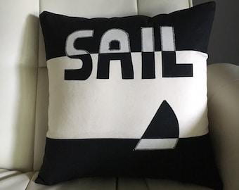 Nautical Pillow Sailboat Pillow Nautical Home Black and White Pillow Cover // Nautical Decor // Nautical Home Decor // Coastal Decor