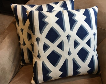 Nautical Pillow Blue and White Pillow Cover 20 inch Pillow // Nautical Decor // Nautical Home Decor