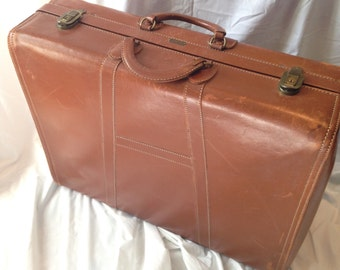 Vintage Leather Locked Hartmann Knocabout Suitcase With Keys