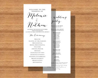 Double Sided Wedding Program, Printable Wedding Program, Wedding Program with Ceremony Information, Bridal Party and Wedding Thank You Note