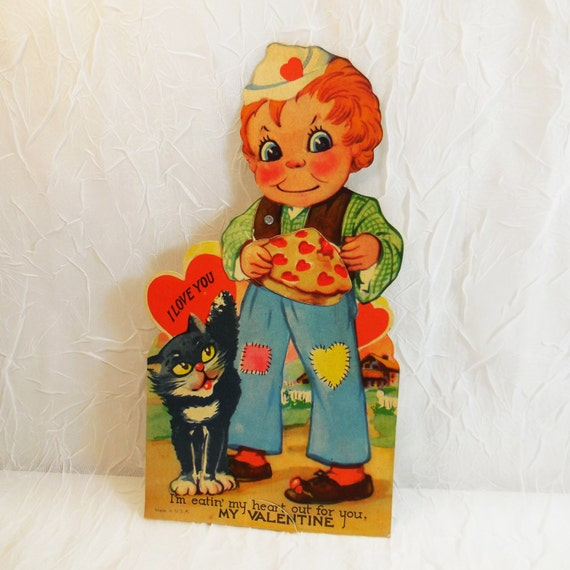 Animated Boy with Cat Valentine Card circa 1930's, large size