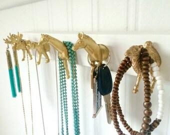 Key Holder, key rack, Animal Jewelry Organizer, jewelry holder, animal head hooks, moose, giraffe, zebra, leopard, camel