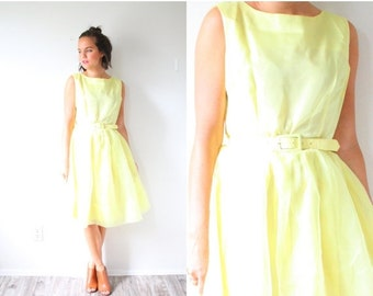 20% OFF BIRTHDAY SALE Vintage yellow 1950's dress // 1960's full circle skirted dress // classic yellow prom dress // sleepless dress // fan