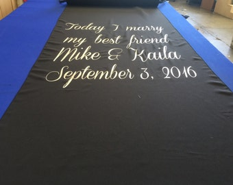 Navy Blue Custom Made Aisle Runner 25  feet with custom vinyl  Bride and Groom Name and Date