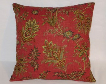 "Rust Jacobean Floral Pillow 17"" Square Linen with Gold Tan Brown Red Black Flowers Cover and Insert Ready to Ship"