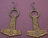 Brass Thor's Hammer Earrings Mjölnir