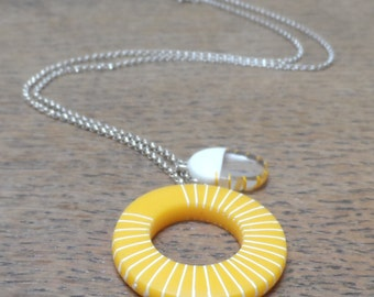 Hoop necklace-yellow resin hoop with cream stripes