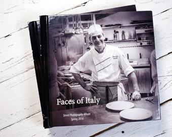"""Black&White street photography book """"Faces of Italy """" , Spring 2016 . Milan, Genoa, Venice: 83 photos. 21 x 21 cm (8.4 x 8.4 inches) album"""