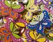 Butterflies Wood Buttons Lot of 10