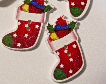 Christmas Stocking Wood Buttons Lot of 10