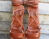 LAST SALE 20% OFF Ancient Style Lace Up Brown Leather Handmade Flat Greek Roman Sandals