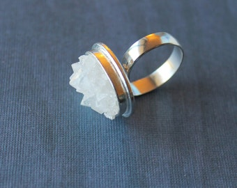 Clear Quartz Geode Crystal Cocktail Ring