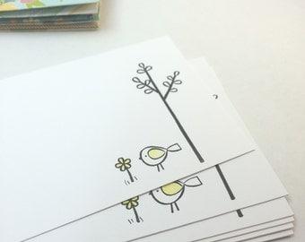 Bird and Flower Notecard Set - set of 6