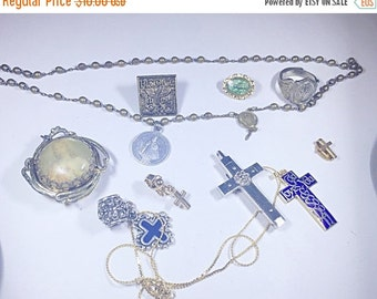MOVING SALE Half Off Destash  Craft Lot of Vintage and Salvaged Religious Crosses Charms and Jewelry Pieces