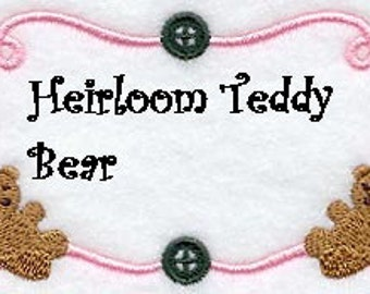 Embroidered Quilt Label Heirloom Teddy Bear Design Small Size