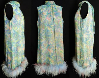 Vintage 1960s Dress//60s dress//Gemini//Marabou Feathers//Rockabilly//New Look//Mod//Wiggle//Party Dress//Party Dress