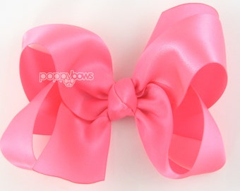 "Girls Hair Bow - 4 Inch Satin Hair Bow - Neon Pink satin hair bow - toddler hair bow - baby girls hairbow - big hair bow 4"" boutique bows"