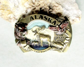 Alaska Belt Buckle Last Frontier Great Land Wild Animals Grizzly Bear Moose American Eagle Fish. Free US Shipping