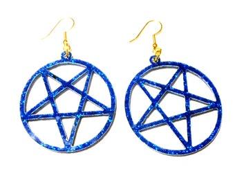 Big Glittery Blue Acrylic PENTAGRAM Earrings with Gold Earring Hooks