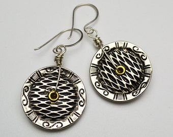 Recycled Metal Button Smashed Earrings Sterling Silver