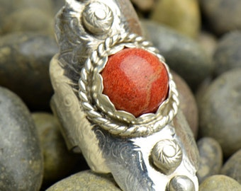Red-Orange Tiger Coral Boho Style Ring Sterling Silver