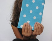 journal cover in aqua blue and white polka dots. fabric book cover with choice of interior lining color. built in book mark. Teacher gift.