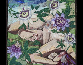 Quilted Wall Hanging- Goddess of the Passionflower