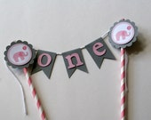 Little Peanut Elephant Cake Bunting Banner, Little Peanut Cake Bunting, Elephant Cake Topper (Pink & Grey) by The Party Paper Fairy