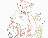 Fox, Tea Towel Embroidery Kit, Beginner Sewing Kit, DIY Embroidery, Hand-Stitching - Heidi Boyd