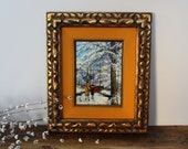 Vintage Syroco winter landscape painting by Pat Davis - velvet mat - gold and black carved frame - mid century framed painting