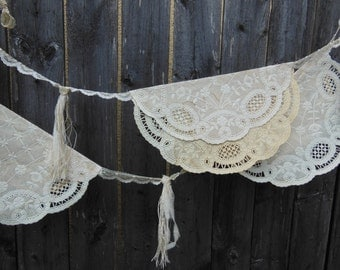 doily bunting, doily garland, vintage wedding, bridal shower decor, shabby country, paper doilies